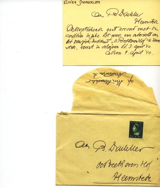 Enveloppe en briefkaart van de violiste Elvira Schmuckler aan B.Drukker, Beethoven Hof, Heemstede (uit archief Olof)