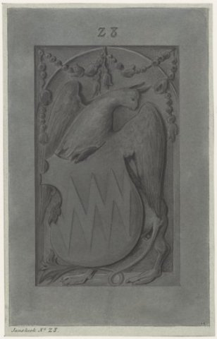 Grafzerk met het wapenschild van Harper van Foreest (?), overleden in 1367. Getekend door Pieter van looy (1823-1885). Bevond zich in Janskerk nabij Heemstede-kapel. Vermoedelijk verdwenen.