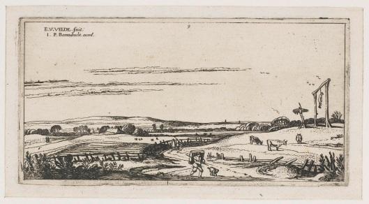 Ets van 't Gerecht buyten Haarlem met zich op de galg gelegen op Heemsteeds grondgebied. Gravure door Esaias van de Velde, 1618.
