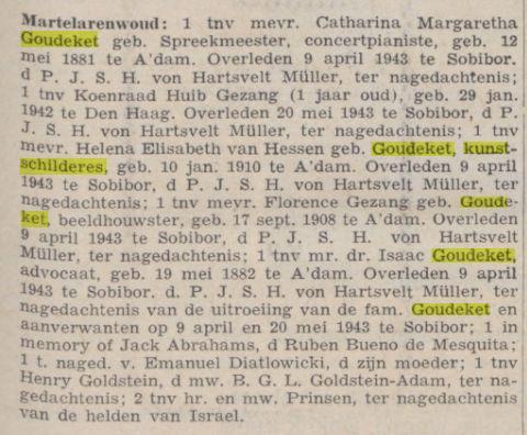 Overleden familieleden Goudeket. Uit: