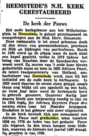 Bericht over restauratie Oude Kerk Heemstede, uit: Het Vaderland, 2-11-1938