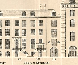 Tekening Kerziersgracht 569-573 ontwoipen door Caspar Philips. In 1923 verbouwd voor Pröhl en Gutmann door H.C.Berchtenbreiter.
