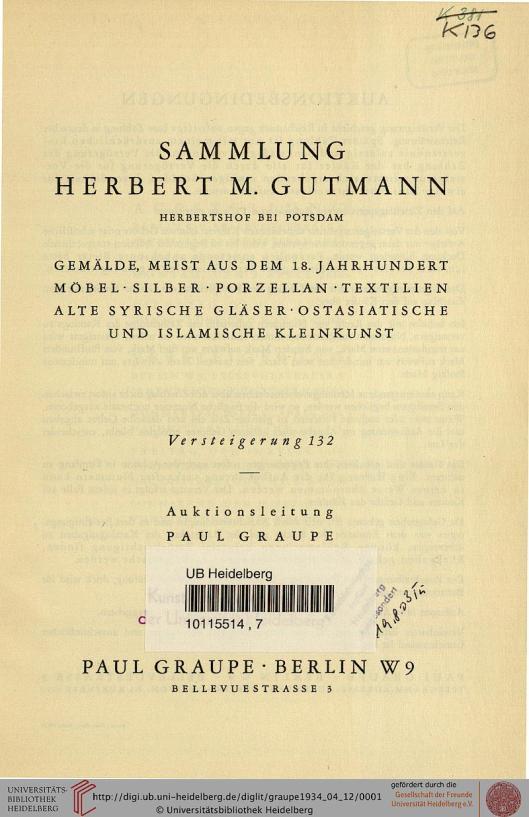 Voorzijde veilingcatalogus Herbert M.Gutmann