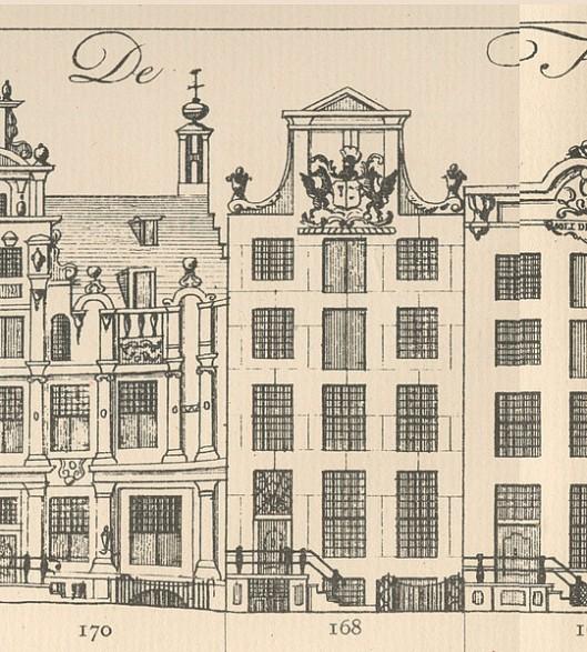 Tekening door Vingboons van het koopmanshuis Herengracht 168, ontworpen in opdracht van Michiel Pauw