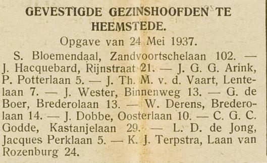 Vestiging L.D.de Jong in Heemstede. Uit: H.D., 27 mei 1937