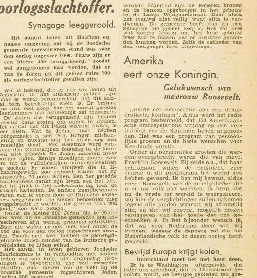 Al in 1945 was bekend dat circa 700 Joodse Haarlemmers de oorlog niet hadden overleefd. Bericht uit: Haarlem's Dagblad van 5-9-1945