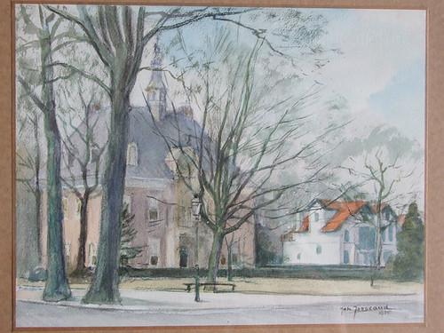 Aquarel van Johannes Josseaud (1880-1935) van het raadhuis en rechts daarvan twee dubbele door aannmer Van Amstel gebouwde witgepleisterde villa's.