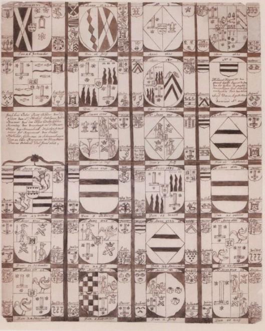 Pentekening van de grafzerken in de Oude Kerk (Noord-Hollands Archief Haarlem)