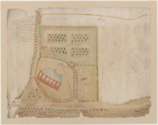 Kaart van de grond om kerk, kerkhof, predikantenhuis en boomgaard door landmeter Hendrik Duyndam, 1763 (NHA)