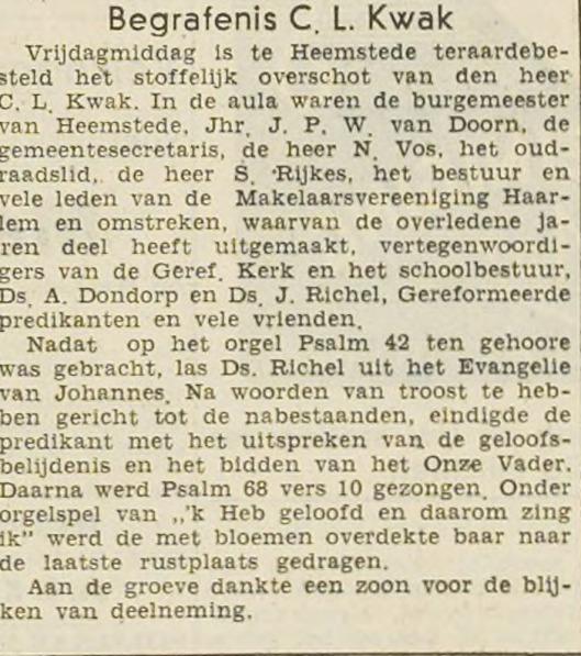 Bericht begrafenis C.L.Kwak, Haarlem's Dagblad 15 maart 1947