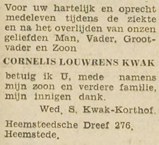 Bericht van familie Kwam uit Haarlem's Dagblad van 19 april 1947.