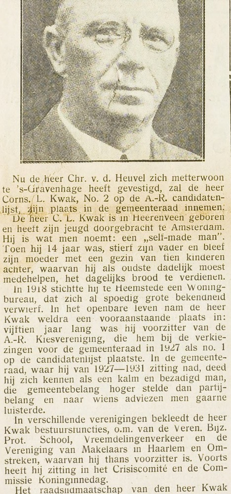 C.L.Kwak tijdelijk gemeenteraadslid. Uit: Eerste Heemsteedsche Courant van 15-2-1935