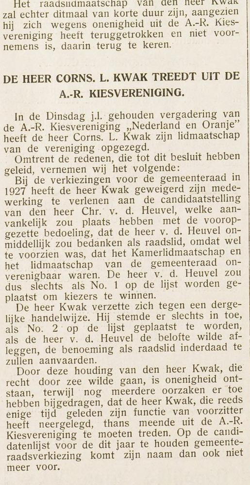 Vervolg C.L.Kwak, uit: Eerste Heemsteedsche Courant van 15-2-1935.