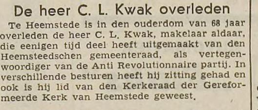 Overlijden C.L.Kwak, uit: IJmuider Courant, 15-3-1947