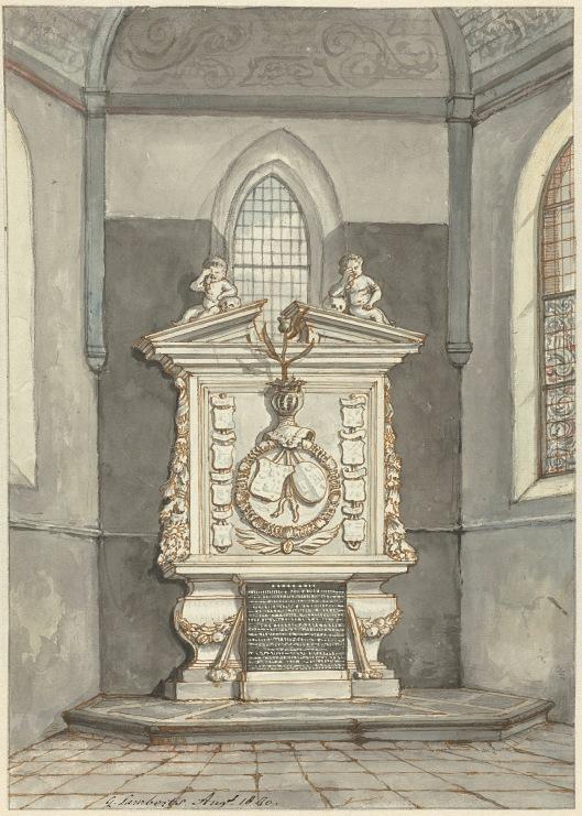 Tekening van grafstede Adriaan Pauw in de Oude Kerk Heemstede; door Gerrit Lamberts (1776-1850), circa 1790 (Rijksmuseum Amsterdam).