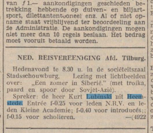 Advertentie van voordracht door Lubinski uit de Nieuwe Tilburgsche Courant van 15 februari 1937