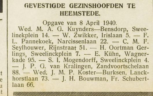 Komende uit Arnhem vestigde S.I.Mogendorff zich begin april 1940 in een huis aan het Sweelinckplein in Heemstede (EHC, 11-4-1940)
