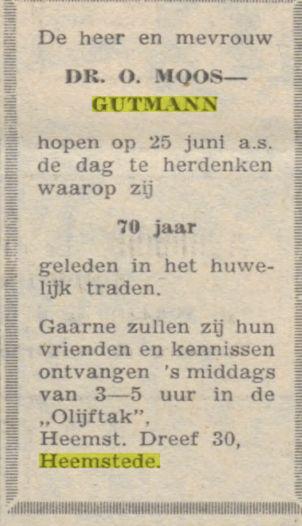 Adv, 70 jarig huwelijk dr.O.Moos (Nieuw Israëlitisch Weekblad, 10-6-1966)