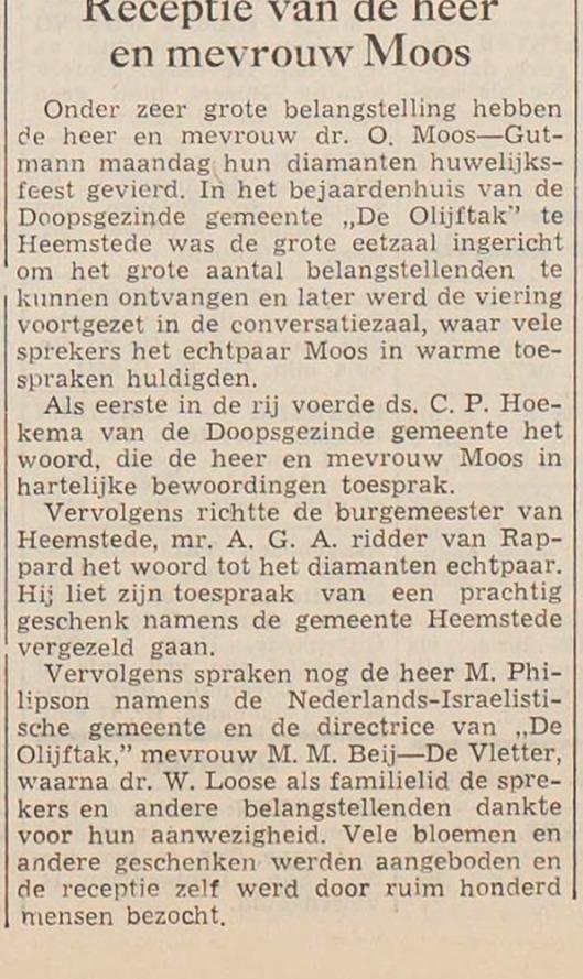 Dr. O.Moos.Uit: Haaelem' s Dagblad, 26-6-1956