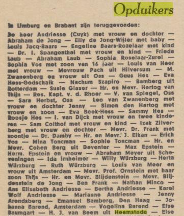 Voorbeeld van Joodse onderduikers die na de bevrijding opduikers genoemd werden. H.J.van Beem uit Heemstede (Paraat, 6 mei 1945).