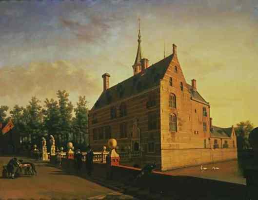 DE twee gebeeldhouwde leeutjes als schildhouders aan het begin van de Vredesbrug naar het voormalige Huis te Heemstede zijn gelukkig bewaard gebleven. Schilderij van Gerrit Berckheyde