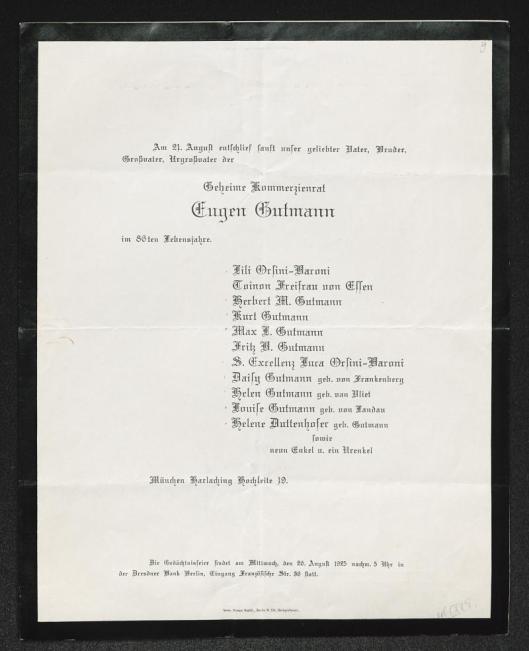 Overlijdensbericht Eugen Gutmann, op 86-jarige leeftijd overleden in 1925.