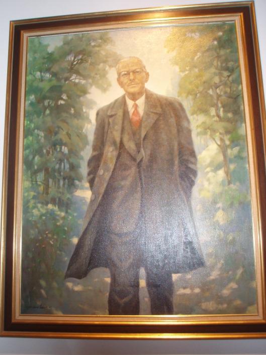 Burgemeester A.G.A.van Rappard, lopend in Groenendaal, geschilderd door plaatsgenoot C.W.Mandersloot