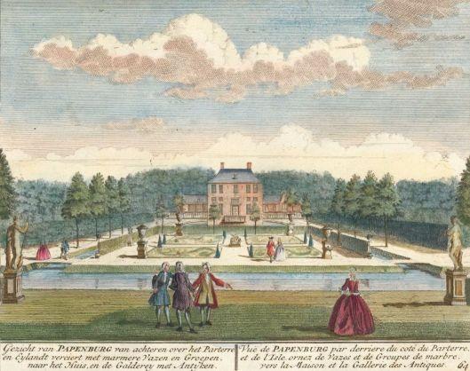 Ingekleurde gravure van het buiten Papenburg door Hendrik de Leth uit Het Zegenpralent Kennemerland. circa 1732. Met stenen vazen en de beelden van Venus en Meleager. De Leth vervaardigde nog 5 etsen van huis en tuin Papenburg.