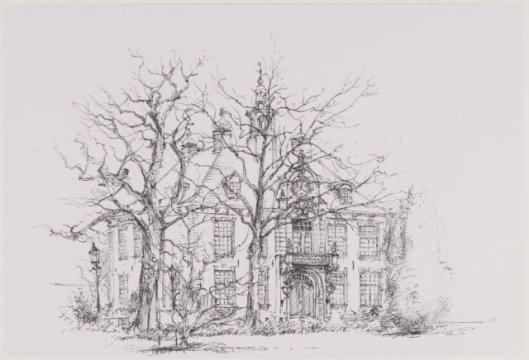 Pentekening van het raadhuis Heemstede