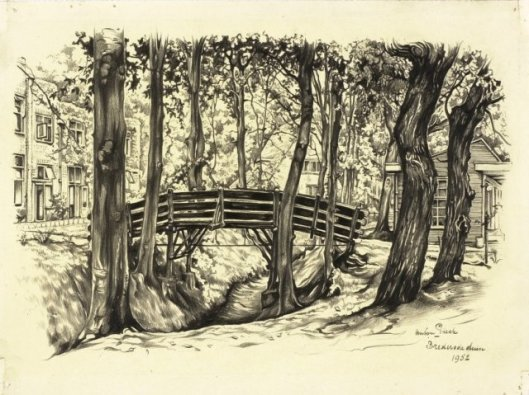 Tekening van het bruggetje in het Brederoduin, door Anton Pieck, 1952