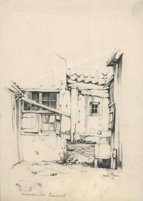 Tekening van Oudemannenhuis in Zandvoort; door Anton Pieck