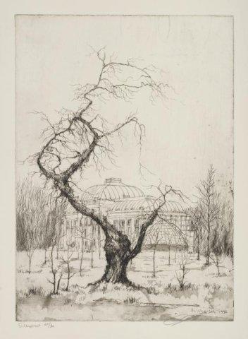 Gezicht op de Orangerie van Elswout. In 1992 getekend door Aart van Woensel, een van de leermeesters van Anton Pieck (NHA)