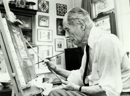 Anton Pieck aan het werk in zijn huisatelier te Overveen, 1985 (De Boer, NHA)