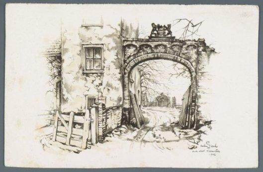 Poort naar het Oude Slot. Ets door Anton Pieck, 1942.