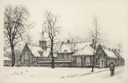 Gezicht op het voormalig Leproos- Pest en Dolhuis te Haarlem. Tekening door Anton Pieck, 1971 (NHA)