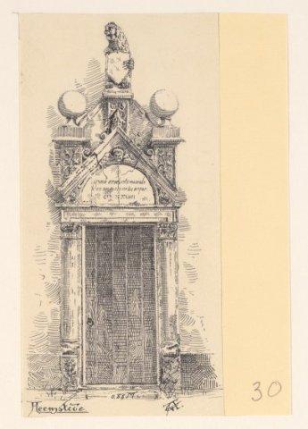 Het Tecklenburgse Poortje bij het Oude Slot te Heemstede, in 1895 getekend door G.van Arkel (1858-1918).