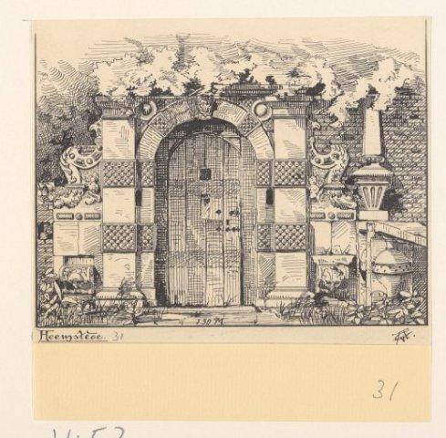 Portiek van Huis te Heemstede aan de zuidzijde van de Vredesbrug. In 1895 getekend door G.van Arkel