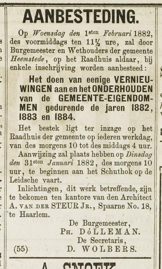 In 1885 vond de laatste verbouwing (vernieuwing dak) plaats van het oude raadhuis 'Overlaan' (Haarlem's Advertentieblad28-2-1885)