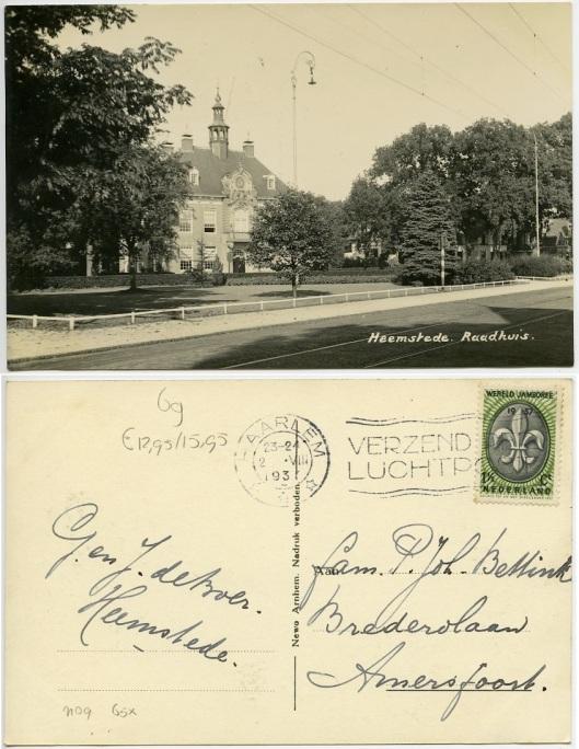 Prentbriefkaart van raadhuis Heemstede uit circa 1937 (foto Newo, Arnhem)