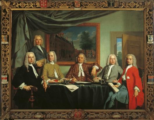 De regenten van het Grote Proveniershuis Haarlem. Schilderij van Frans Decker uit 1738. Zittend van links naar rechts: C.A.van Sypersteyn, A.de Bruyn, Jacobus Barnaart, M.Kuyts en Jan Reeland (1738-1755, schout van Heemstede van 1747-1755. Staande mogelijk de secretaris. (Frans Hals Museum).