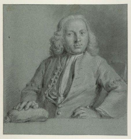 Getekend portret van mr.Jan Reeland uit 1737 van Frans Decker. Hij was schout van Heemstede en verder notaris, heraldicus, penningkundige en regent van het Proveniershuis (NHA)