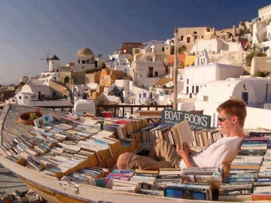 Biblioboot in Santorini, Griekenland