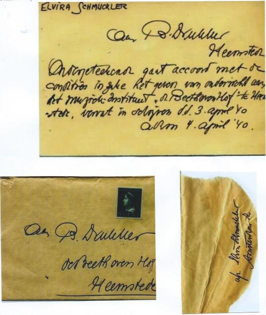 Enveloppe en briefkaart van de violiste Elvira Schmuckler uit Amsterdam. Zij is geboren in 1885 te Keulen en is 13 maart 1943 omgebracht in Sobibor. [Opmerkelijk is: Beethoven Hof Heemstede zonder verder adres] De brief is niet verzonden en komt uit het archief van violist Theo Olof.