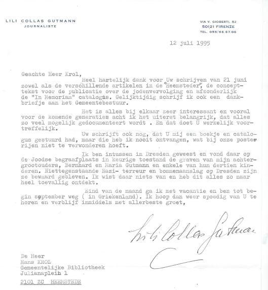 Schrijven van mevrouw Lili Collas Gutmann uit Florence van 12 juli 1995