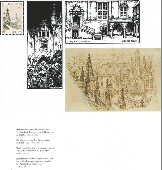 Illustraties stadhuis Haarlem door Anton Pieck. Uit: Het stadshuis van Haarlem; Hart van de stad. 2001
