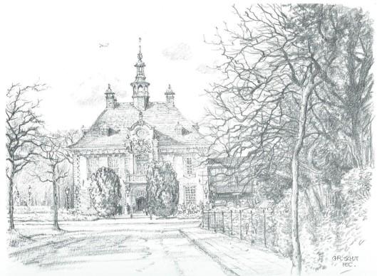 Raadhuis Heemstede, getekend door Chris Schut, 1990