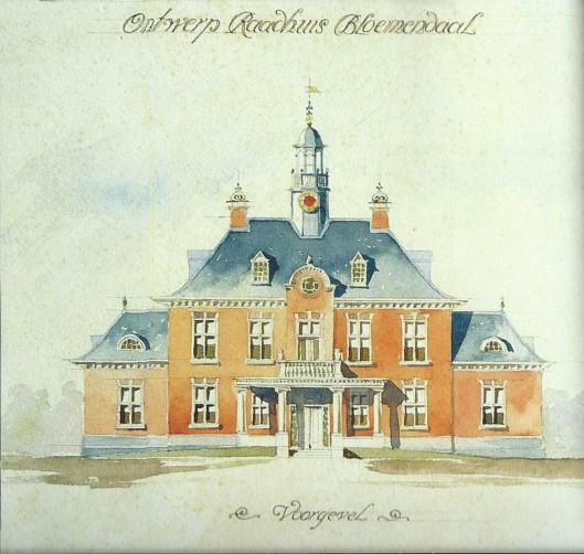 Niet uitgevoerd ontwerp voor een nieuw raadhuis in Overveen, gemeente Bloemendaal door J.T.H.Cuypers, duidelijk geïnspireerd door het raadhuis van Heemstede.