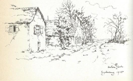 Anton Pieck. Tekening van Vogelenzang, 1945