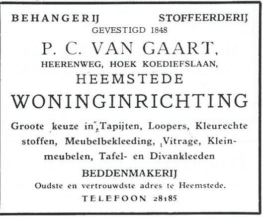 Advertentie van behangerij-stoffeerderij P.C.van Gaart uit 1931