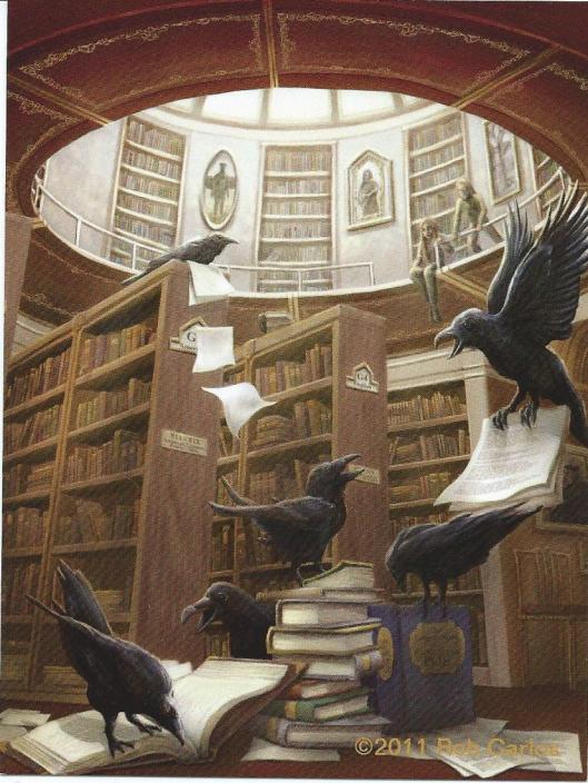 Raven in de bibliotheek